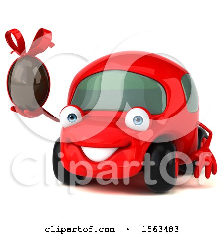 Clipart of a 3d Red Car Holding a Chocolate Egg, on a White Background - Royalty Free Illustration by Julos