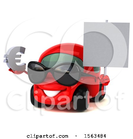 Clipart of a 3d Red Car Holding a Euro, on a White Background - Royalty Free Illustration by Julos