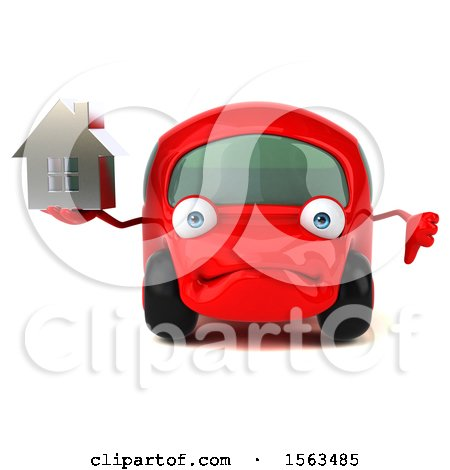 Clipart of a 3d Red Car Holding a House, on a White Background - Royalty Free Illustration by Julos