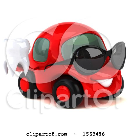 Clipart of a 3d Red Car Holding a Tooth, on a White Background - Royalty Free Illustration by Julos