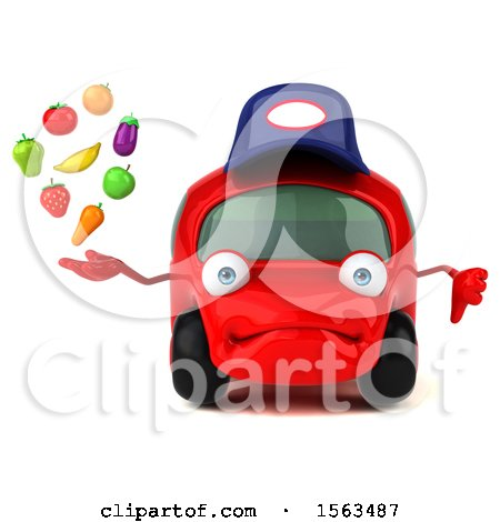 Clipart of a 3d Red Mechanic Car Holding Produce, on a White Background - Royalty Free Illustration by Julos
