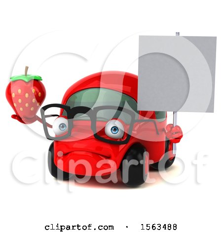 Clipart of a 3d Red Car Holding a Strawberry, on a White Background - Royalty Free Illustration by Julos