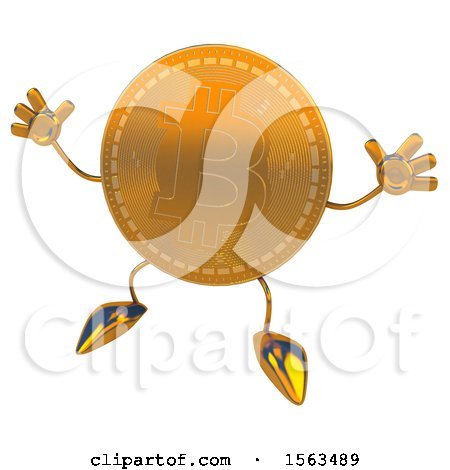 Clipart of a Bitcoin Mascot Jumping, on a White Background - Royalty Free Illustration by Julos