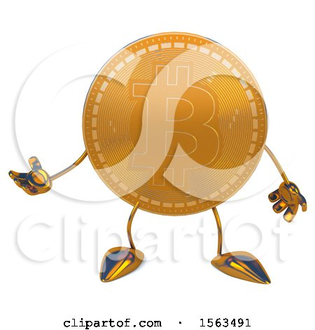 Clipart of a Bitcoin Mascot Presenting, on a White Background - Royalty Free Illustration by Julos