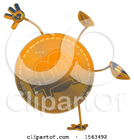 Clipart of a Bitcoin Mascot Cartwheeling, on a White Background - Royalty Free Illustration by Julos