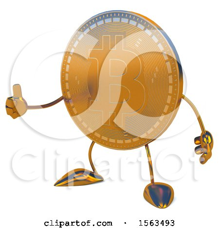 Clipart of a Bitcoin Mascot Giving a Thumb Up, on a White Background - Royalty Free Illustration by Julos