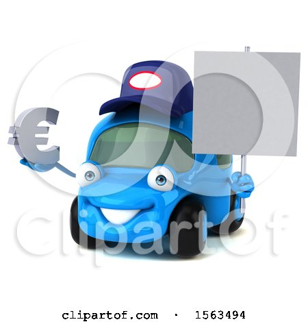Clipart of a 3d Blue Mechanic Car Holding a Euro, on a White Background - Royalty Free Illustration by Julos