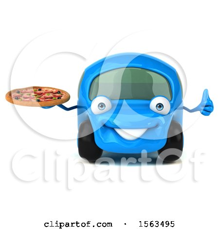 Clipart of a 3d Blue Car Holding a Pizza, on a White Background - Royalty Free Illustration by Julos
