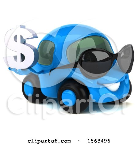 Clipart of a 3d Blue Car Holding a Dollar Sign, on a White Background - Royalty Free Illustration by Julos