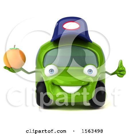 Clipart of a 3d Green Mechanic Car Holding an Orange, on a White Background - Royalty Free Illustration by Julos