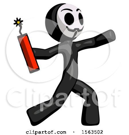 Black Little Anarchist Hacker Man Throwing Dynamite by Leo Blanchette