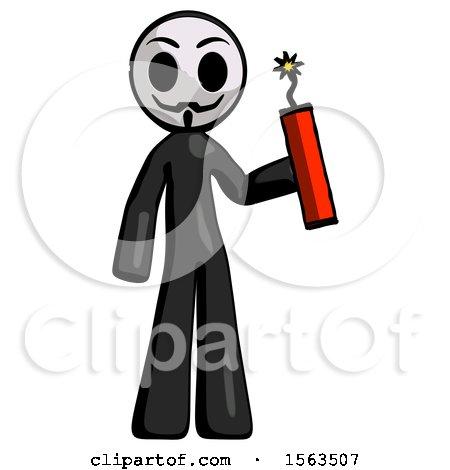 Black Little Anarchist Hacker Man Holding Dynamite with Fuse Lit by Leo Blanchette