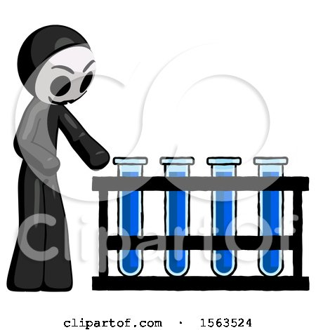 Black Little Anarchist Hacker Man Using Test Tubes or Vials on Rack by Leo Blanchette