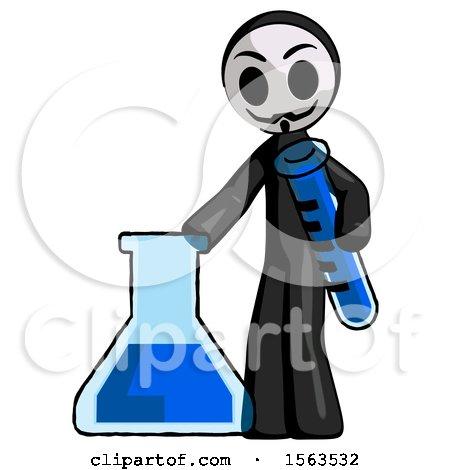 Black Little Anarchist Hacker Man Holding Test Tube Beside Beaker or Flask by Leo Blanchette