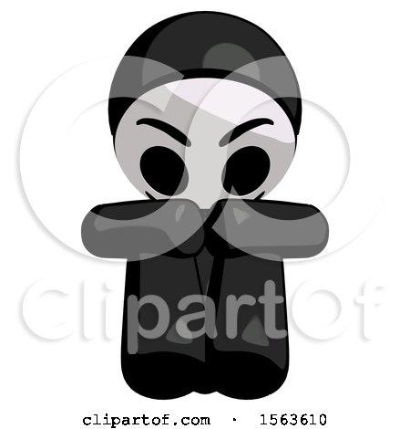 Black Little Anarchist Hacker Man Sitting with Head down Facing Forward by Leo Blanchette