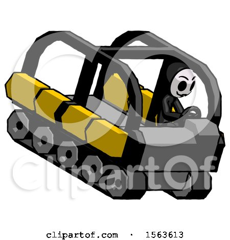 Black Little Anarchist Hacker Man Driving Amphibious Tracked Vehicle Top Angle View by Leo Blanchette