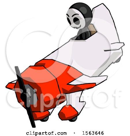 Black Little Anarchist Hacker Man in Geebee Stunt Plane Descending View by Leo Blanchette