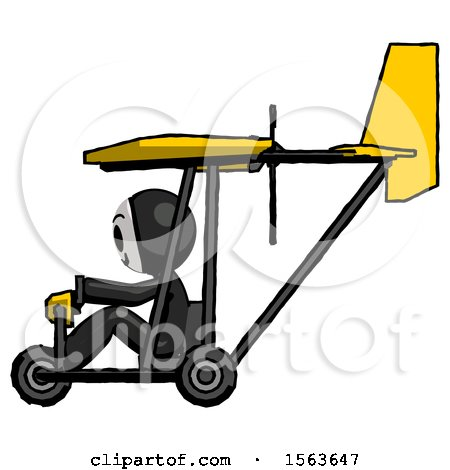 Black Little Anarchist Hacker Man in Ultralight Aircraft Side View by Leo Blanchette