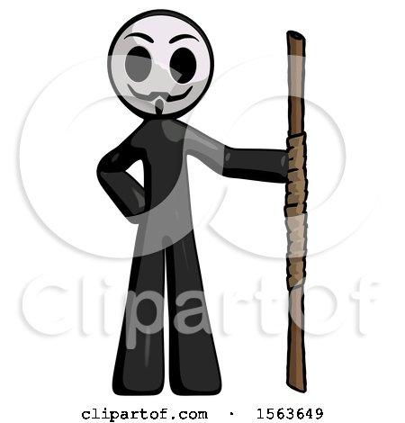 Black Little Anarchist Hacker Man Holding Staff or Bo Staff by Leo Blanchette