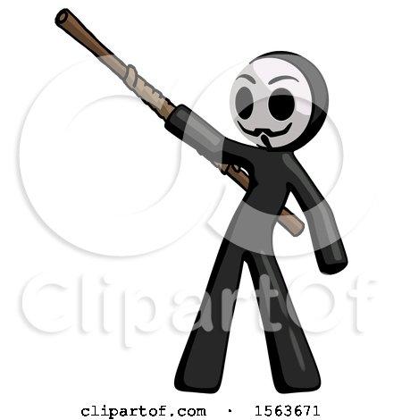 Black Little Anarchist Hacker Man Bo Staff Pointing up Pose by Leo Blanchette
