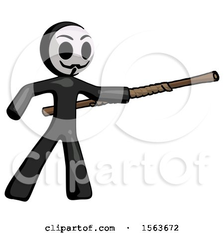 Black Little Anarchist Hacker Man Bo Staff Pointing Right Kung Fu Pose by Leo Blanchette