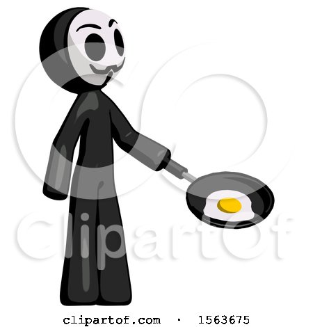 Black Little Anarchist Hacker Man Frying Egg in Pan or Wok Facing Right by Leo Blanchette