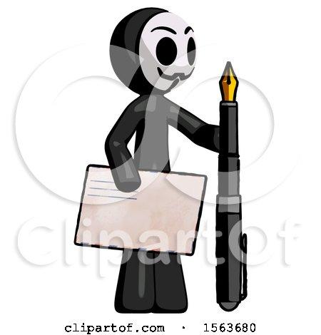 Black Little Anarchist Hacker Man Holding Large Envelope and Calligraphy Pen by Leo Blanchette