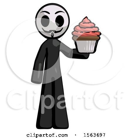 Black Little Anarchist Hacker Man Presenting Pink Cupcake to Viewer by Leo Blanchette