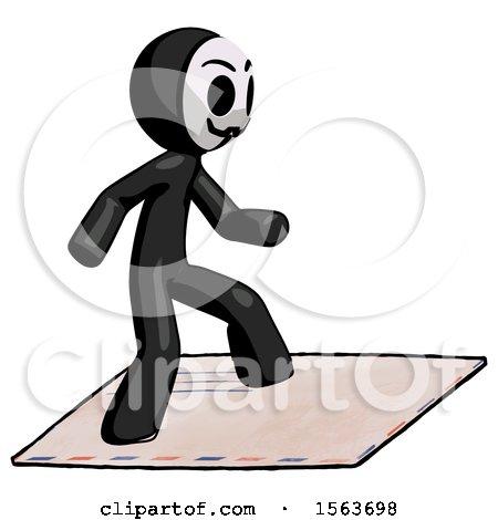 Black Little Anarchist Hacker Man on Postage Envelope Surfing by Leo Blanchette