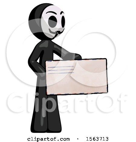 Black Little Anarchist Hacker Man Presenting Large Envelope by Leo Blanchette