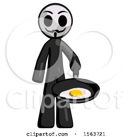 Black Little Anarchist Hacker Man Frying Egg in Pan or Wok by Leo Blanchette