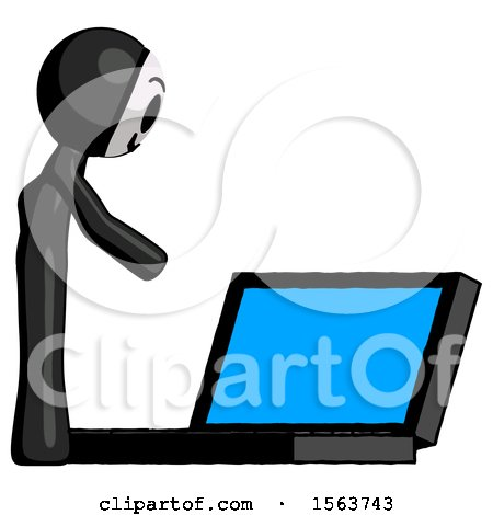 Black Little Anarchist Hacker Man Using Large Laptop Computer Side Orthographic View by Leo Blanchette