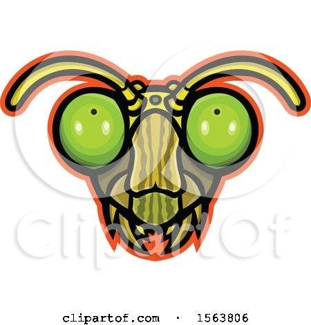 Clipart of a Praying Mantis Mascot Head - Royalty Free Vector Illustration by patrimonio