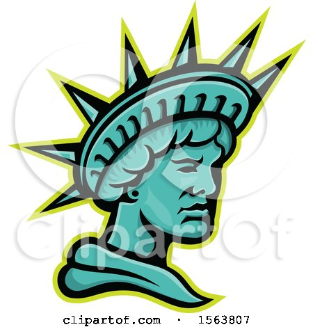 Clipart of a Statue of Liberty Mascot - Royalty Free Vector Illustration by patrimonio