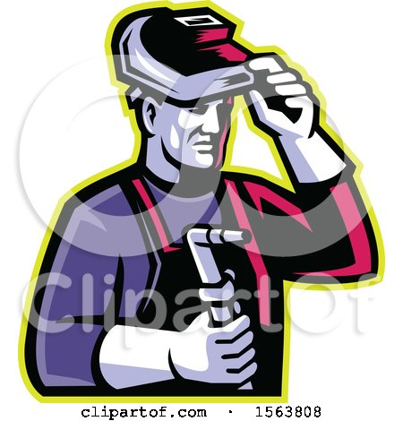 Clipart of a Retro Male Welder Lifting His Visor and Holding a Torch - Royalty Free Vector Illustration by patrimonio