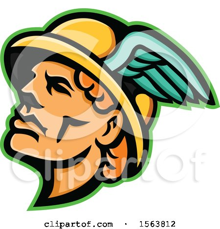 Clipart of a Hermes Mascot Head - Royalty Free Vector Illustration by patrimonio