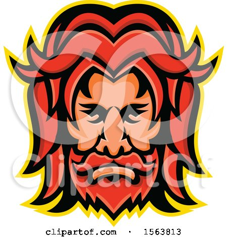 Clipart of a Face of Baldr - Royalty Free Vector Illustration by patrimonio