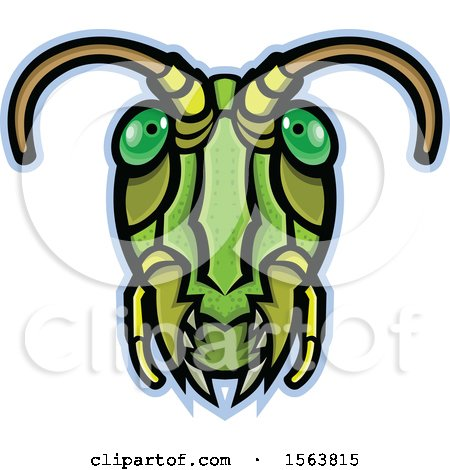 Clipart of a Grasshopper Mascot Head - Royalty Free Vector Illustration by patrimonio
