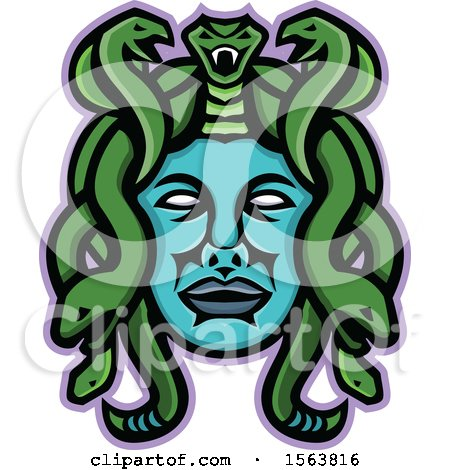 Clipart of a Snake Haired Medusa Gorgon Mascot Head - Royalty Free Vector Illustration by patrimonio