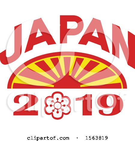 Clipart of a Rising Sun with Japan 2019 Text - Royalty Free Vector Illustration by patrimonio