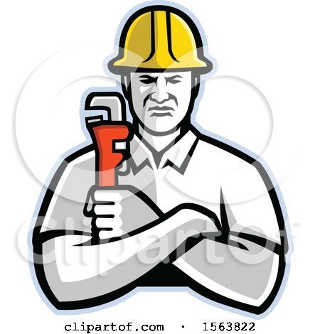 Clipart of a Retro Plumber or Pipefitter Holding a Monkey Wrench - Royalty Free Vector Illustration by patrimonio