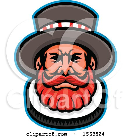 Clipart of a Beefeater Mascot Face - Royalty Free Vector Illustration by patrimonio