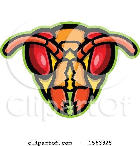 Clipart of a Hornet Mascot Head - Royalty Free Vector Illustration by patrimonio