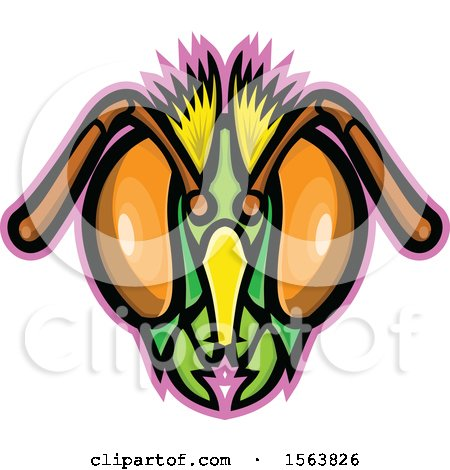 Clipart of a Honey Bee Mascot Head - Royalty Free Vector Illustration by patrimonio