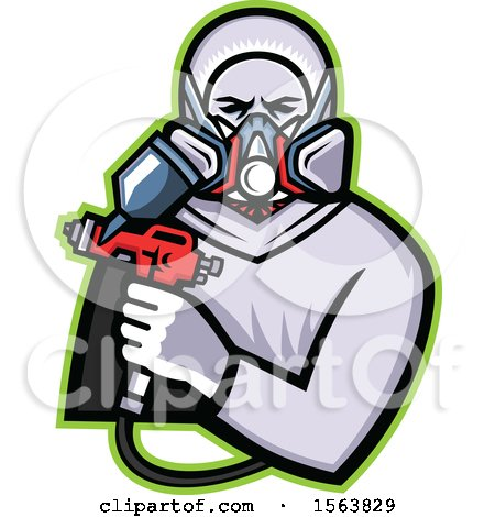 Clipart of a Retro Male Worker Holding a Spray Painting Gun - Royalty Free Vector Illustration by patrimonio