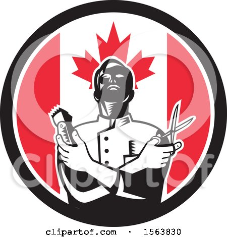 Retro Woodcut Barber Holding Scissors and Clippers in a Canadian Flag Circle Posters, Art Prints
