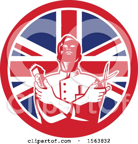 Clipart of a Retro Woodcut Barber Holding Scissors and Clippers in a Union Jack Flag Circle - Royalty Free Vector Illustration by patrimonio