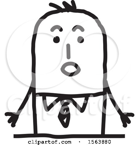 Clipart of a Surprised Stick Man - Royalty Free Vector Illustration by NL shop