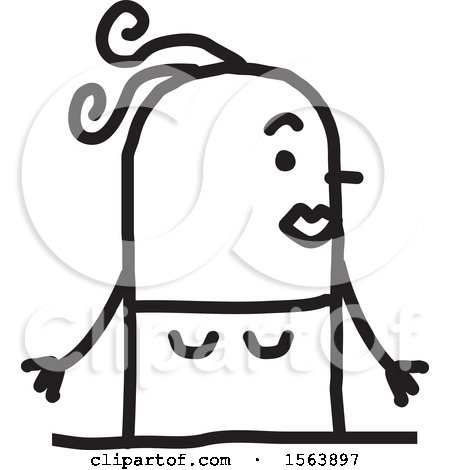 Clipart of a Surprised Stick Woman - Royalty Free Vector Illustration by NL shop