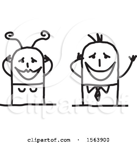 Clipart of a Gushing Stick Couple - Royalty Free Vector Illustration by NL shop
